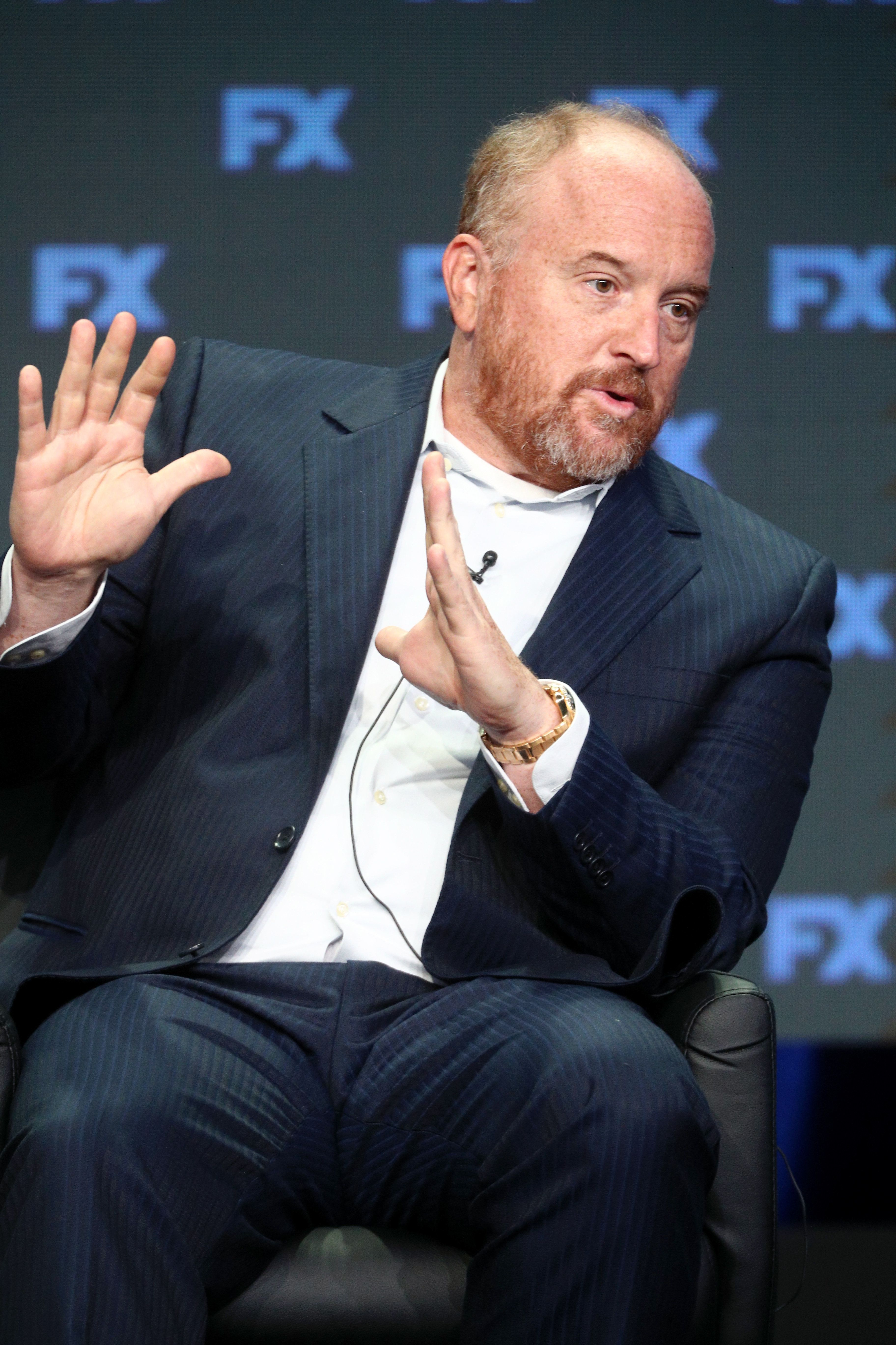 BEVERLY HILLS, CA - AUGUST 09:  Co-creator/Executive Producer/Writer Louis C.K. of 'Better Things' speaks onstage during the FX portion of the 2017 Summer Television Critics Association Press Tour at The Beverly Hilton Hotel on August 9, 2017 in Beverly Hills, California.  (Photo by Frederick M. Brown/Getty Images)