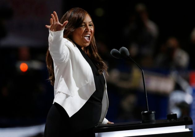 Lynne Patton speaks at the Republican National Convention in Cleveland, Ohio, on July 20,