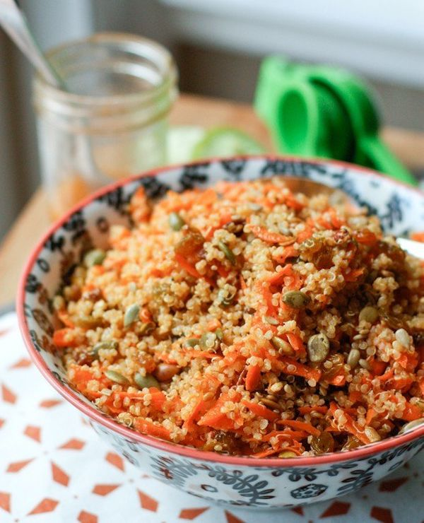 "<strong>Get the <a href=""https://aggieskitchen.com/carrot-raisin-quinoa-salad/"" target=""_blank"">Carrot Raisin Quinoa Sal"
