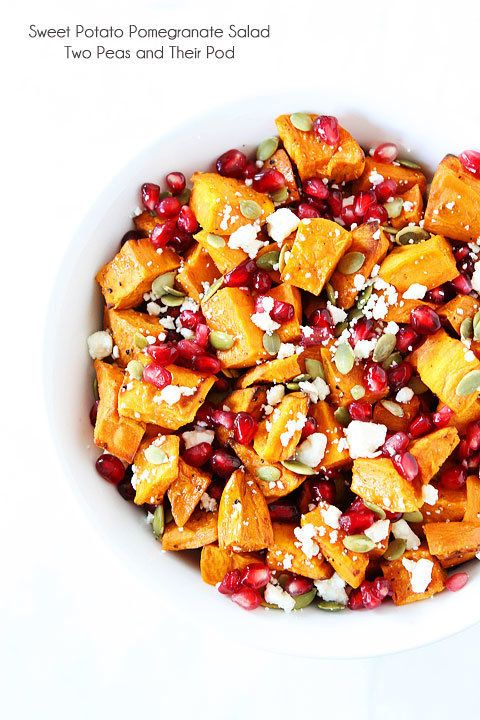 "<strong>Get the <a href=""https://www.twopeasandtheirpod.com/sweet-potato-pomegranate-salad/"" target=""_blank"">Sweet Potat"