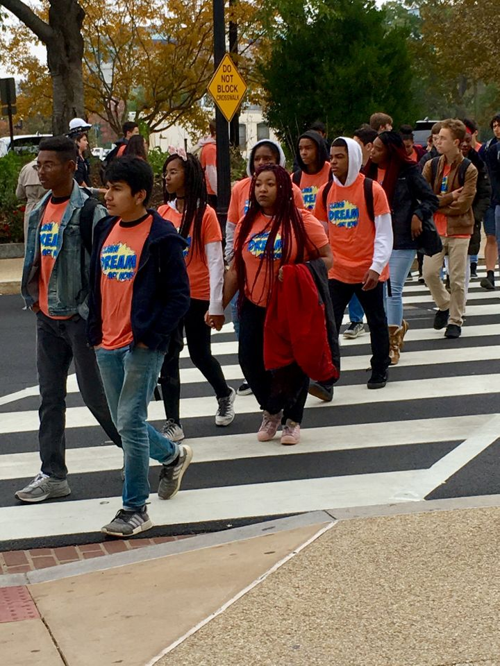 Hundreds of DC high school and university students walked out on November 9, 2017 to join the protest on the Hill.