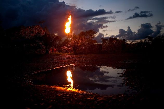 An oil waste pit in Ecuador's northern Amazon