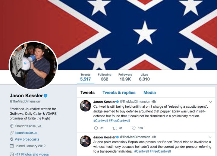 A screenshot of Kessler's account page, captured Friday morning.