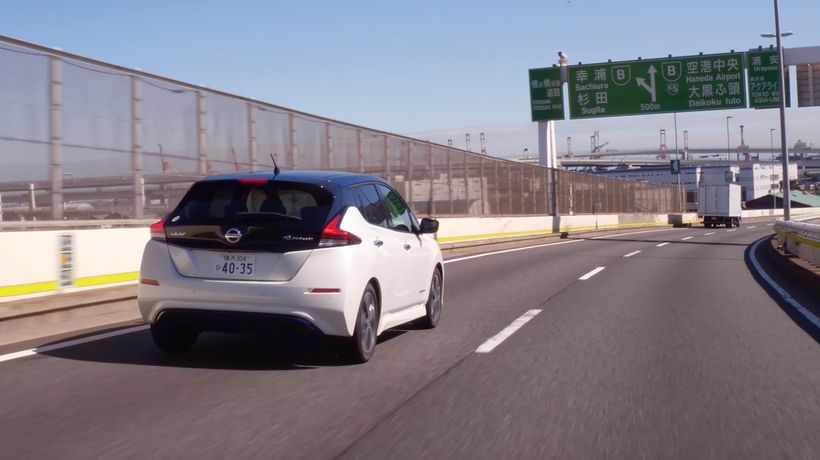 Nissan Leaf on a the highway in Japan. Japanese roads are very well maintained and provide the perfect environment for self-d