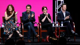 "Cast members (L-R) Debra Messing, Eric McCormack, Megan Mullally and Sean Hayes attend a panel for the television series ""Will & Grace"" during the TCA NBC Summer Press Tour in Beverly Hills, California, U.S., August 3, 2017. REUTERS/Mario Anzuoni"