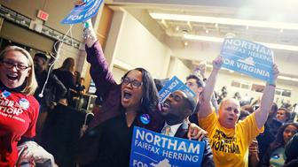Supporters of Democratic gubernatorial candidate Ralph Northam begin to celebrate as results start to come in at Northam's election night rally on the campus of George Mason University in Fairfax, Virginia, November 7, 2017. REUTERS/Aaron P. Bernstein