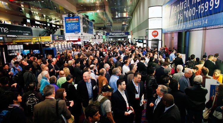 View of attendees waiting to enter exhibitor floor at CES 2017