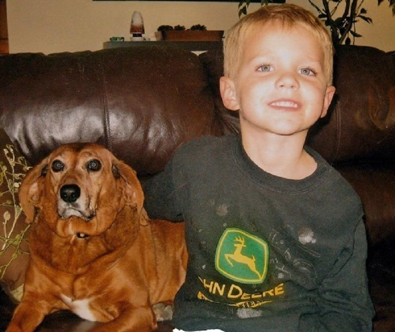 Melodie Liddle's grandson Evan and Copper.