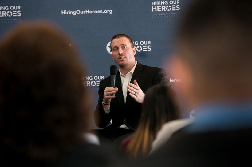 <em>Dakota Meyer discusses veteran employment and retention topics with Texas employers at a Hiring Our Heroes event in Dalla