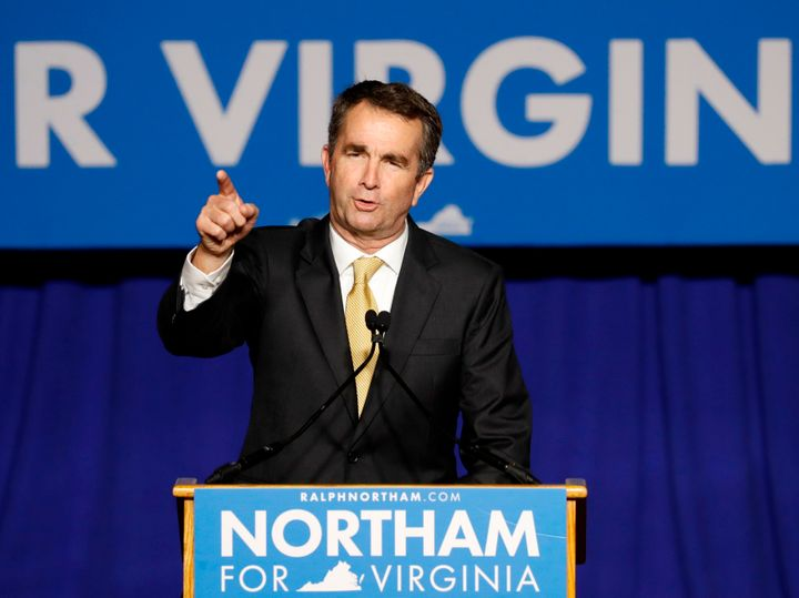 Virginia Governor-elect Ralph Northam speaks after his election night victory at the campus of George Mason University in Fai