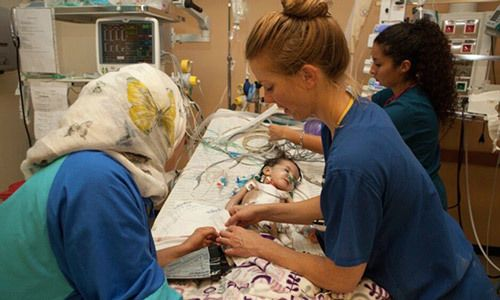 Libby Sauter in hospital in Libya