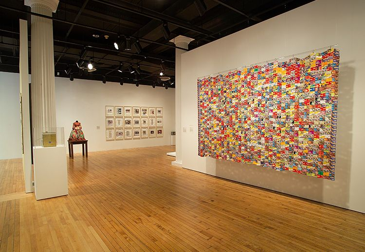Installation shot of <em>The Poetics of Cloth: African Textiles / Recent Art </em>(2008) at Grey Art Gallery, New York U