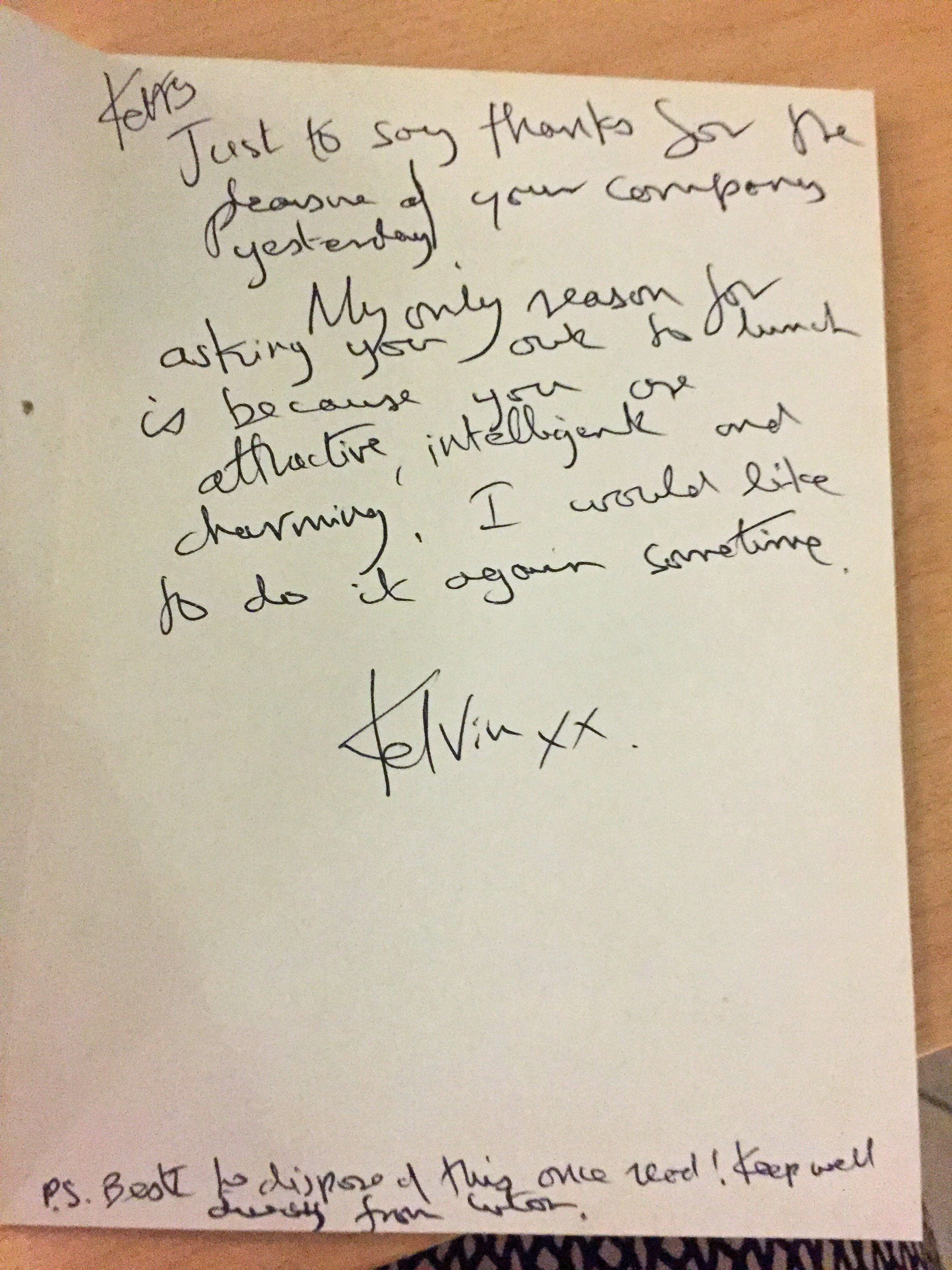 <strong>Letter from Kelvin Hopkins received by Labour's Kerry McCarthy who has come forward to say she suffered more than 20 years of unwanted attention from the Luton North MP.</strong>