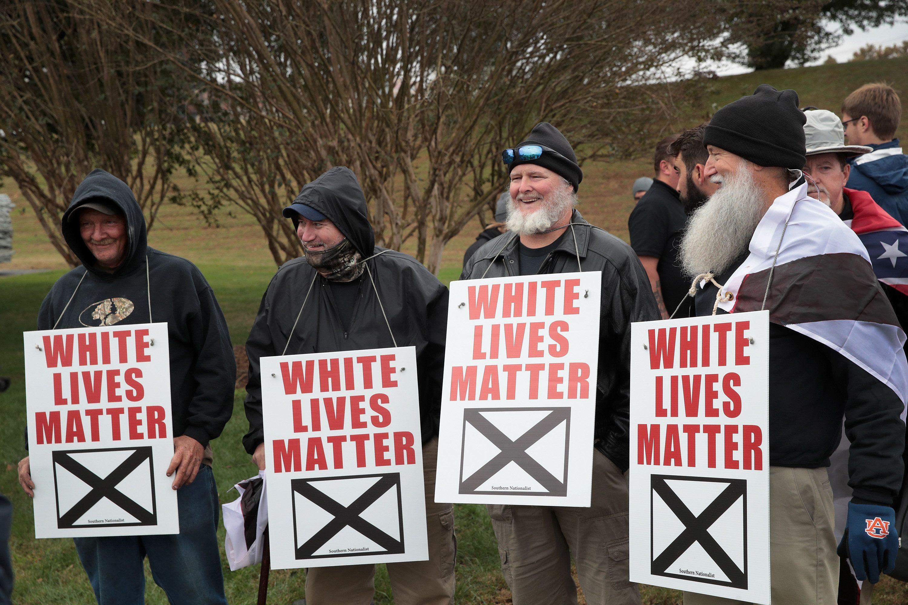 SHELBYVILLE, TN - OCTOBER 28:  White nationalist attend a rally on October 28, 2017 in Shelbyville, Tennessee. The event billed as a White Lives Matter rally is hosted by Nationalist Front, which is a coalition of several white supremacist organizations.  (Photo by Scott Olson/Getty Images)