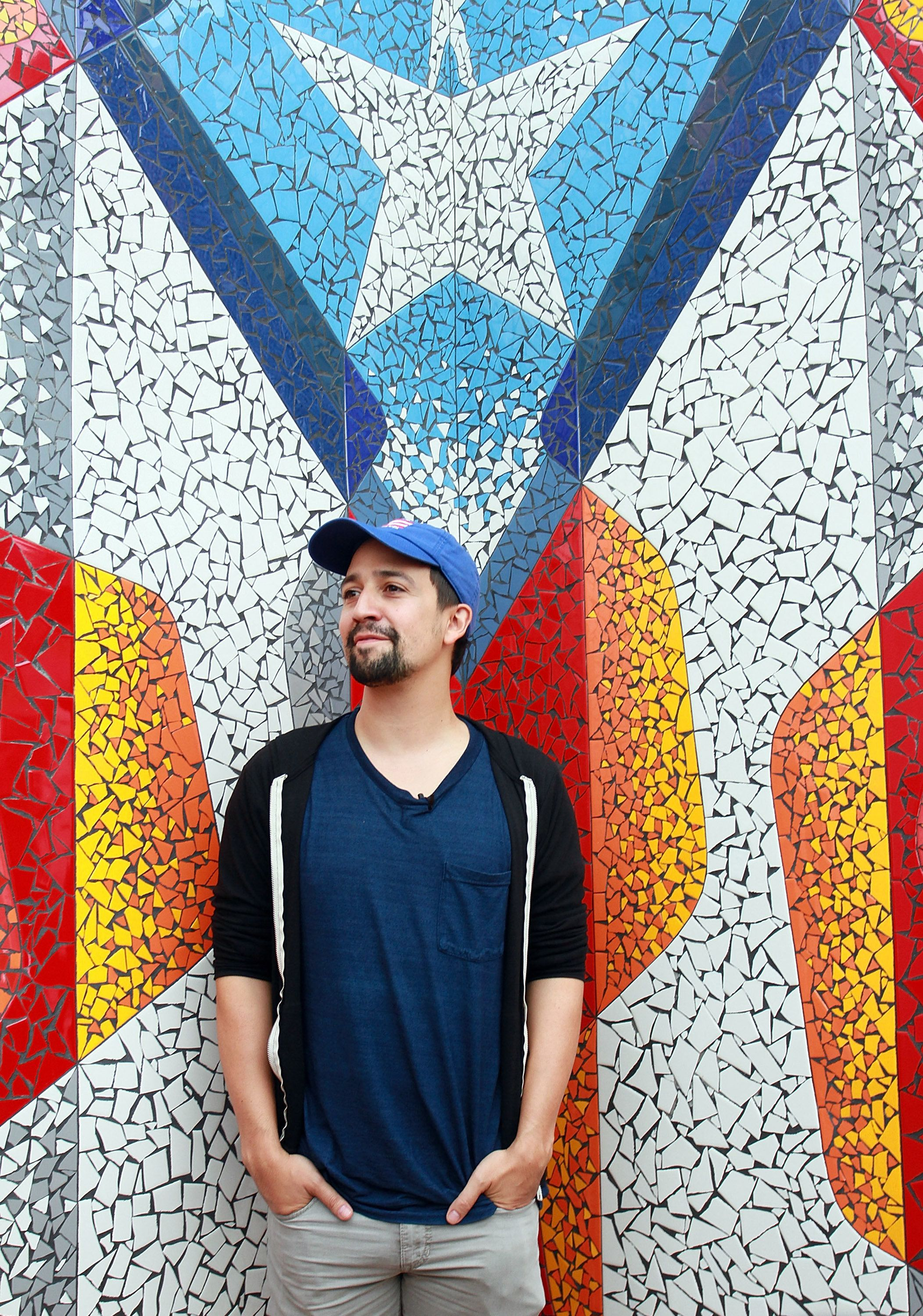 VEGA ALTA, PUERTO RICO - NOVEMBER 07:  Lin-Manuel Miranda unveils the Puerto Rican flag art at La Placita de Guisin on November 7, 2017 in Vega Alta, Puerto Rico.  (Photo by Gladys Vega/Getty Images)
