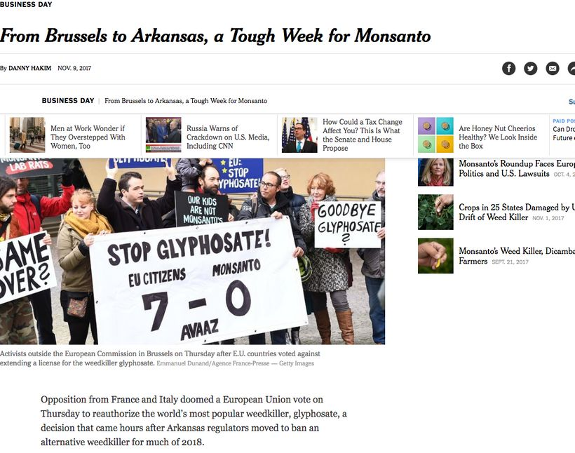 <em>A screenshot of a NYT story. The European Union refused to authorize glyphosate; Arkansas banned  another weedkiller, dic
