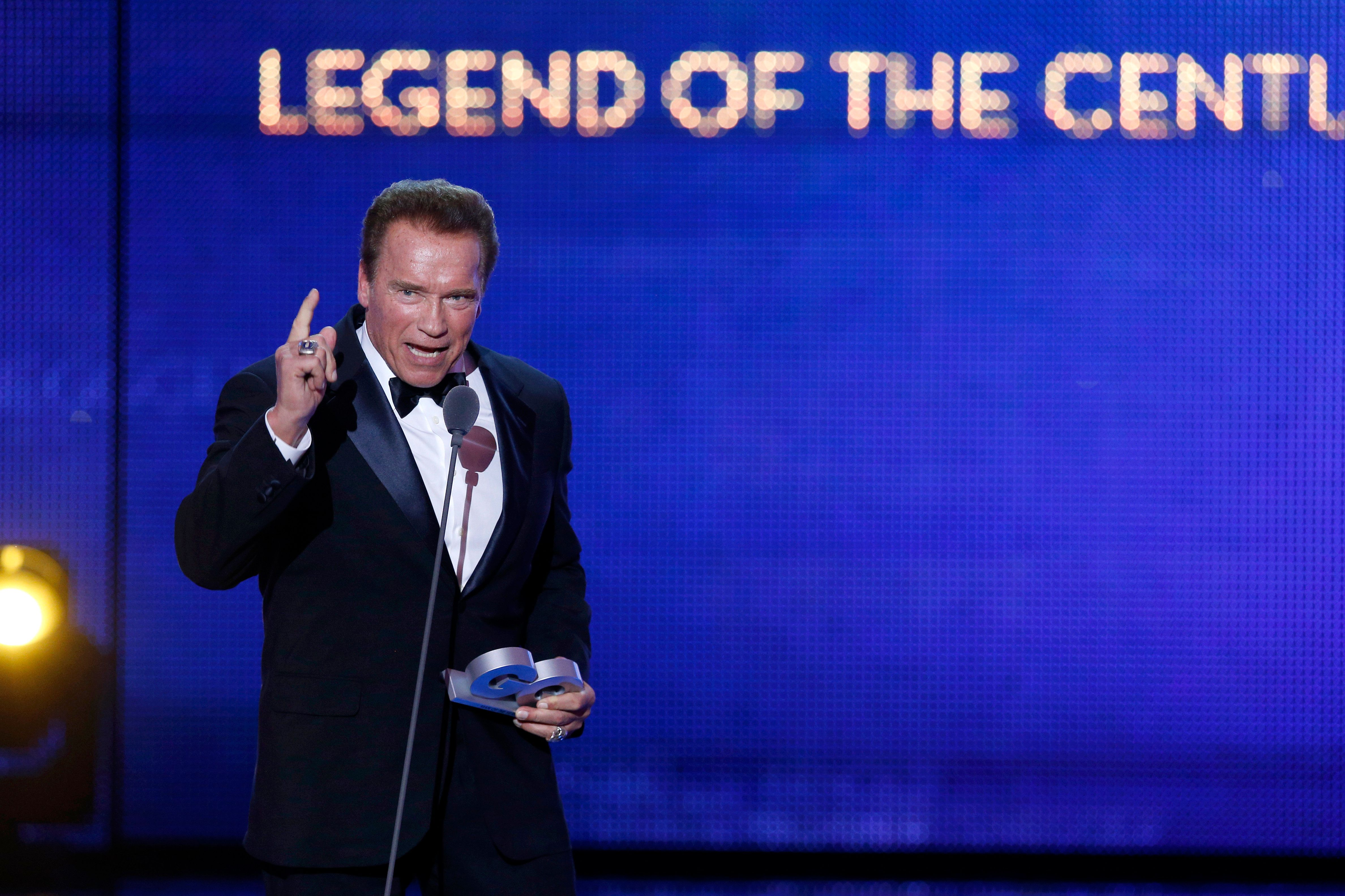 BERLIN, GERMANY - NOVEMBER 09:  'Legend of the Century' GQ Man of the year Arnold Schwarzenegger is seen on stage at the GQ Men of the year Award 2017 show at Komische Oper on November 9, 2017 in Berlin, Germany.  (Photo by Franziska Krug/Getty Images for GQ)