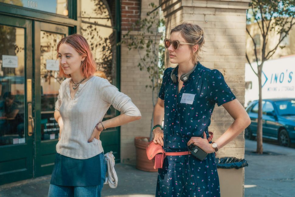 "Saoirse Ronan and Greta Gerwig on the set of ""Lady Bird."""