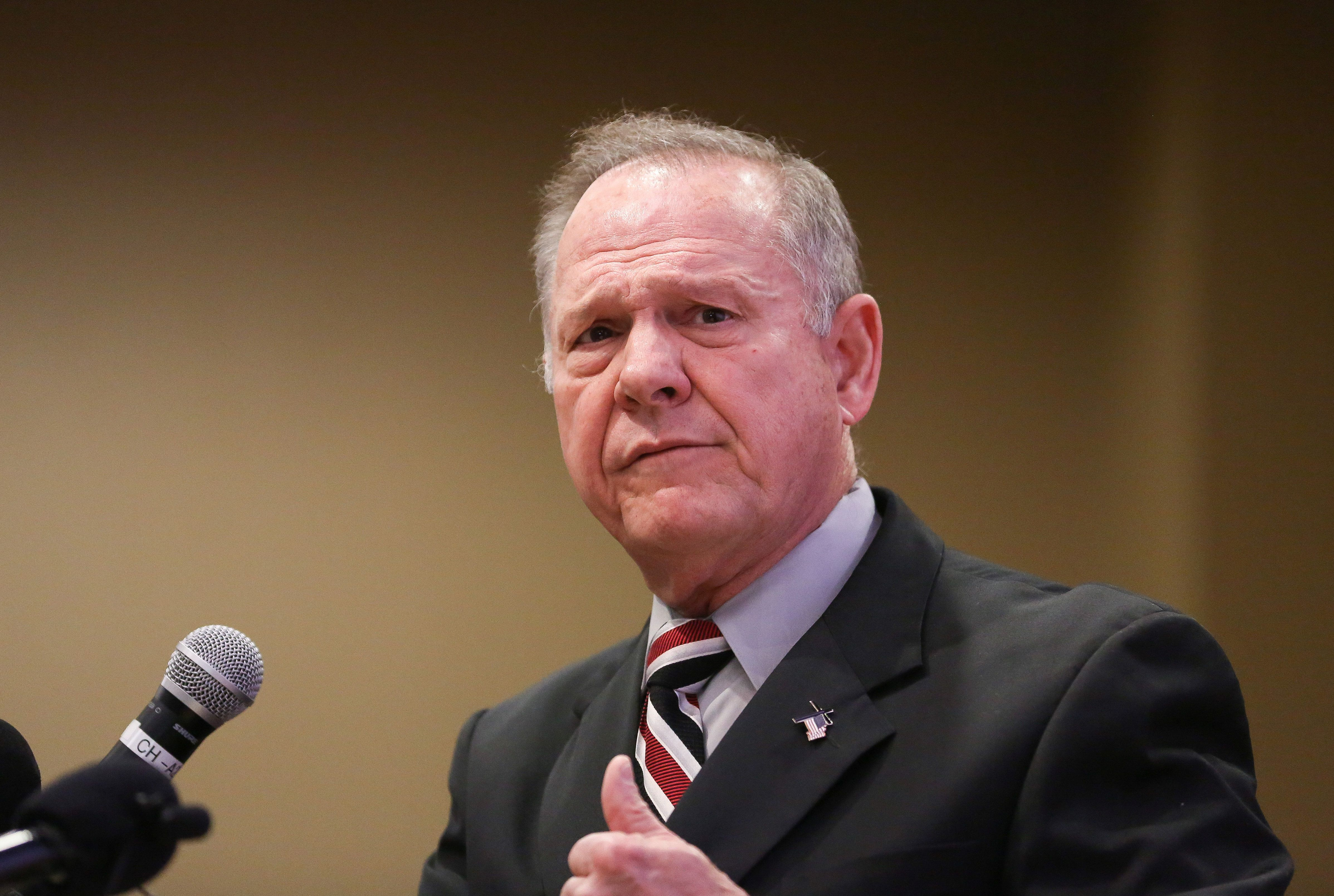 Judge Roy Moore participates in the Mid-Alabama Republican Club's Veterans Day Program in Vestavia Hills, Alabama, U.S., November 11, 2017. REUTERS/Marvin Gentry