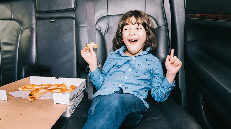 Just like Kevin! Pizza from The Todd English food Hall, enjoyed during your limo ride around the city.