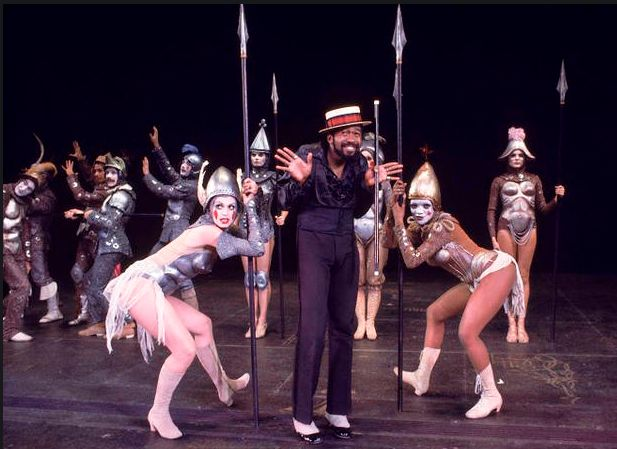 """Actors (Front L-R) Kathryn Doby, Ben Vereen & Candy Brown in a scene fr. the Broadway musical """"Pippin."""" (New Yo"""