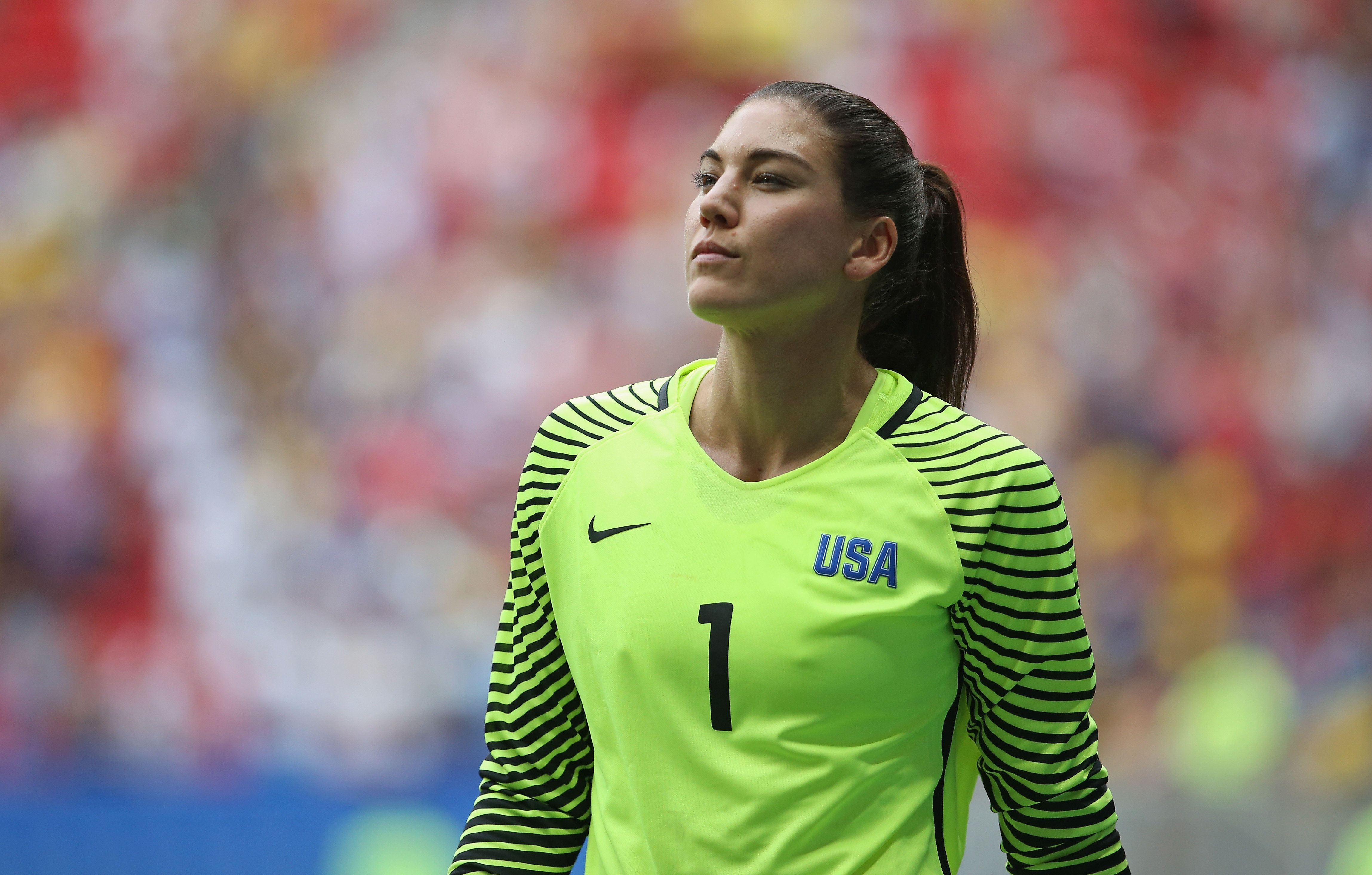 BRASILIA, BRAZIL - AUGUST 12: Hope Solo of the United States looks on during the penalty shoot out during the Women's Quarter Final match between United States and Sweden on Day 7 of the Rio 2016 Olympic Games at Mane Garrincha Stadium on August 12, 2016 in Brasilia, Brazil. (Photo by Steve Bardens-FIFA/FIFA via Getty Images)