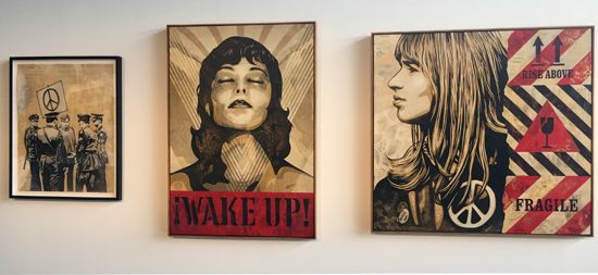 <p>From right to left Shepard Fairey, Peaceful Protest (2017) mixed media (stencil, silkscreen, and collage) on paper 38h x 30w in (96.5 2h x 76.20w cm) $16,000; Shepard Fairey, Wake Up, (Edition 2/6) (2017) silkscreen on wood panel 24h x 18w in (60.96 x 45.72w cm); Shepard Fairey, Fragile Peace (2017) mixed media (stencil silkscreen and collage on canvas 56h x 54w in (142.24h x 137.16w cm) $60,000</p>