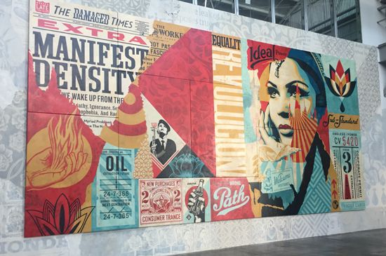 """<p>Shepard Fairey, Wrong Path (2017) mixed media (stencil, silk screen, and collage) on oversized canvas """"not framed"""" 175h x 360w in (444.5 0h x 914.40w cm) $500,000</p>"""