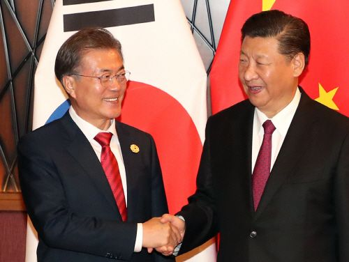 South Korea's Moon Meets Singaporean Prime Minister