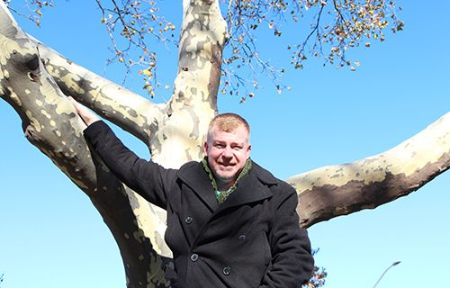<strong>Bobby at home in a tree.</strong>