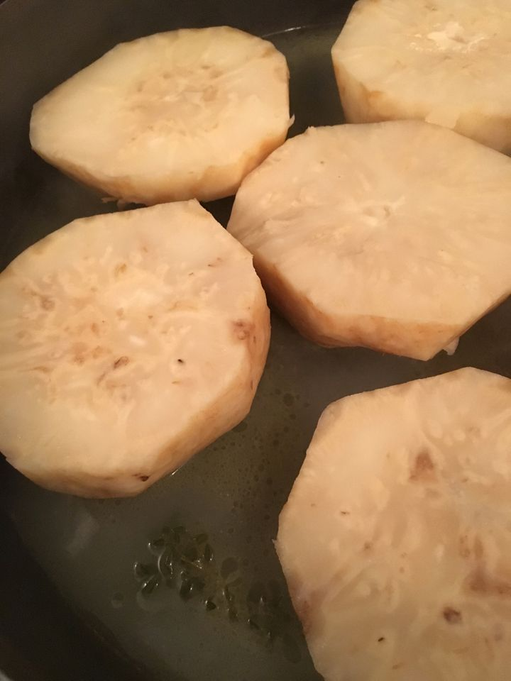 <p>Cook slabs of celery root in a covered pan with butter and a little water</p>