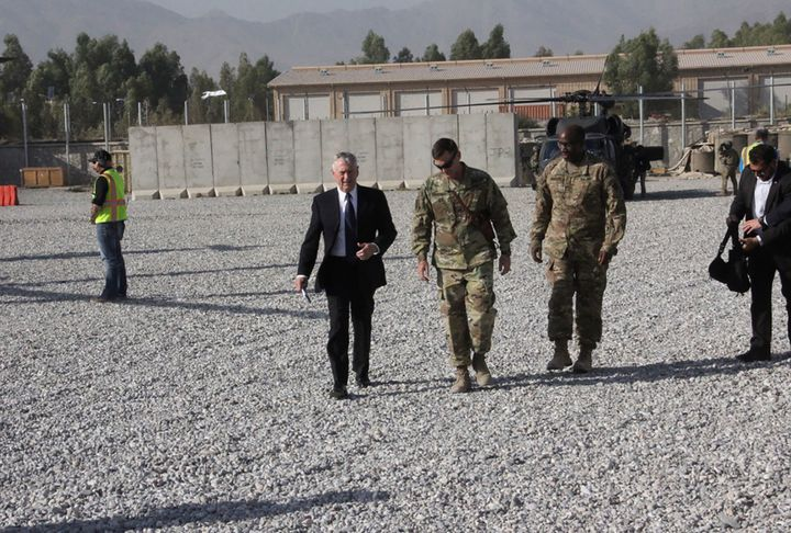 U.S. Defense Secretary Jim Mattis arrives at Forward Operating Base Gamberi east of Kabul, Afghanistan on September 27, 2017.