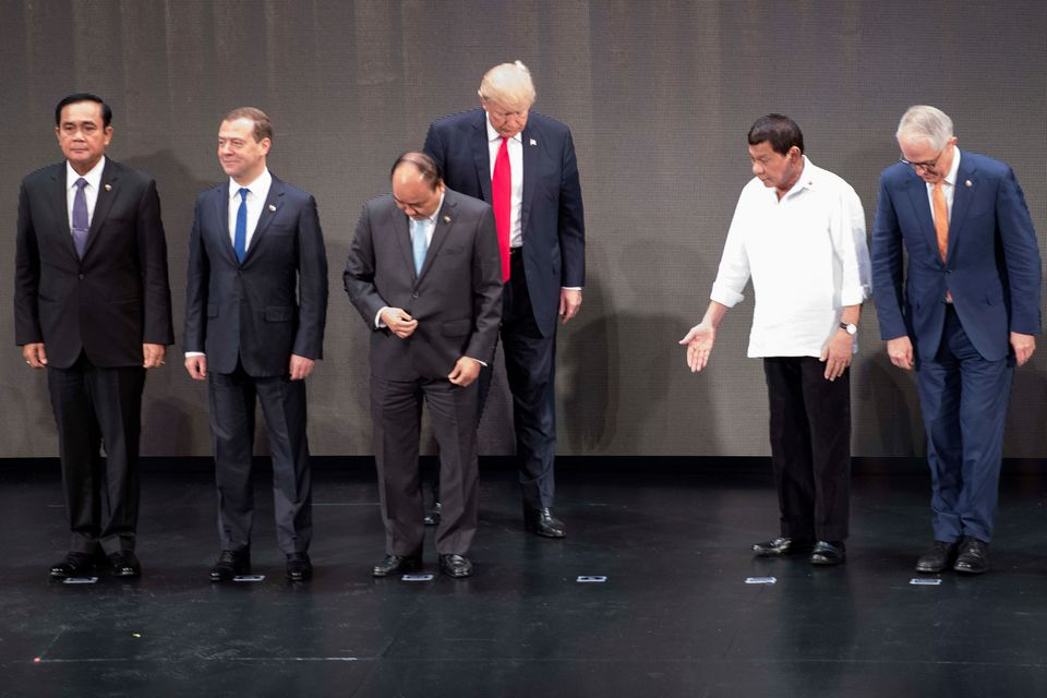 "1. Philippines president <a href=""https://www.huffingtonpost.com/topic/rodrigo-duterte"">Rodrigo Duterte</a> motions for Trump"