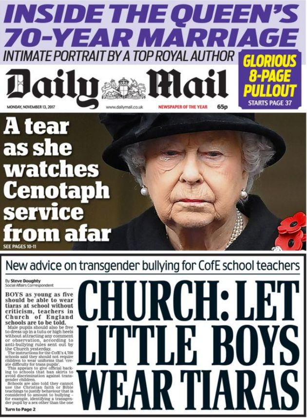 The Daily Mail focused on the Church of England's attempts to stop transphobic bullying in