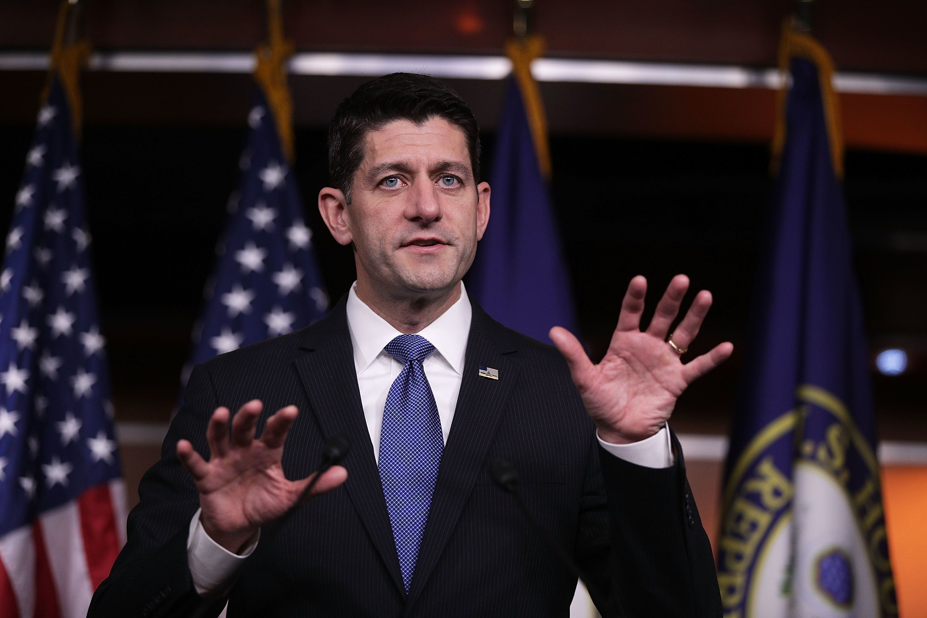 WASHINGTON, DC - NOVEMBER 09:  U.S. Speaker of the House Rep. Paul Ryan (R-WI) speaks during a news conference November 9, 2017 on Capitol Hill in Washington, DC. Speaker Ryan answered questions about the proposed GOP tax bill.  (Photo by Alex Wong/Getty Images)