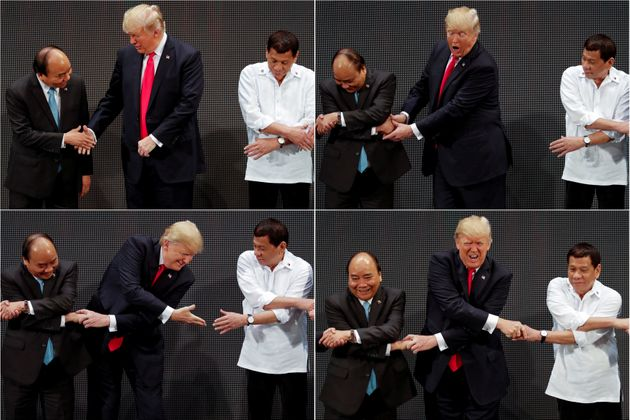The four stages of Trump's handshake