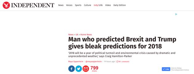 Craig Hamilton-Parker's Psychic Predictions Lauded In Press Despite