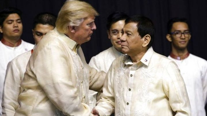 President Trump with Philippines President Rodrigo Duterte on Sunday. Duterte is widely accused of human rights abuses includ