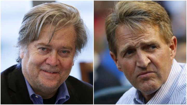 Steve Bannon (L) and Jeff Flake (R)