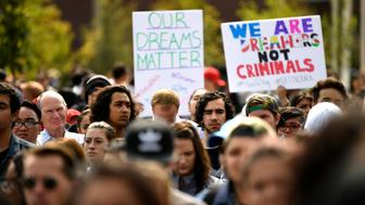 DENVER, CO - SEPTEMBER 5: Students, immigrants and Impacted individuals marched to Tivoli Quad on Auraria Campus to defend the Deferred Action for Childhood Arrivals (DACA) program during a city wide walkout and rally at Auraria Campus downtown Denver, CO. (Photo by Joe Amon/The Denver Post via Getty Images)