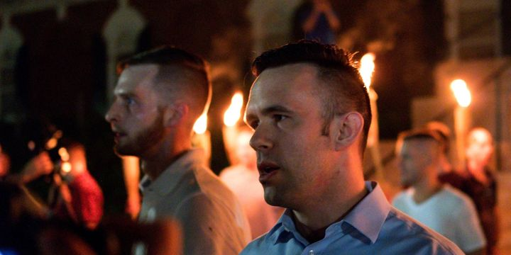 Evan McLaren, executive director of the National Policy Institute, marching in he white supremacist march in  Charlottesville