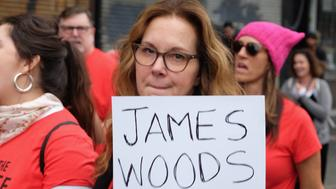 HOLLYWOOD, CA - NOVEMBER 12:  Actress Elizabeth Perkins participates in the Take Back The Workplace March and #MeToo Survivors March & Rally on November 12, 2017 in Hollywood, California.  (Photo by Sarah Morris/Getty Images)