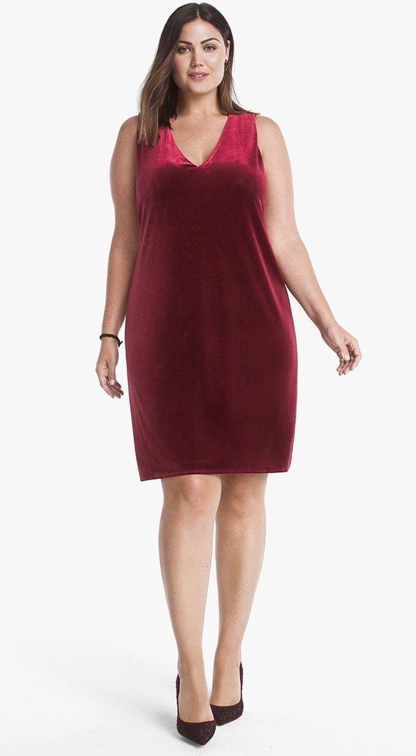 """From <a href=""""https://www.whitehouseblackmarket.com/store/product/plus+sleeveless+velvet+shift+dress/570222623?color=1779&amp"""