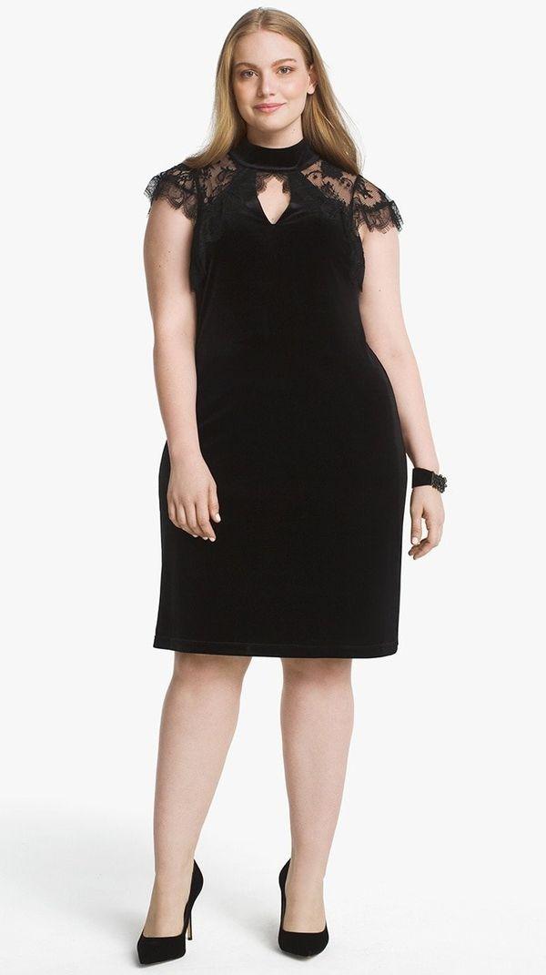 "From <a href=""https://www.whitehouseblackmarket.com/store/product/plus+cap+sleeve+lace+veiling+black+velvet+shift+dress/57022"