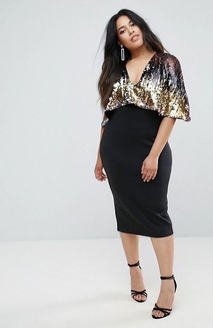 """From <a href=""""http://us.asos.com/club-l/club-l-plus-cape-overlay-midi-dress-with-sequin-top/prd/8422042"""" target=""""_blank"""">ASOS"""