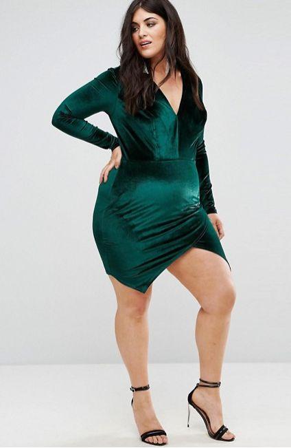 "From <a href=""http://us.asos.com/club-l-plus/club-l-plus-velvet-plunge-front-dress-with-wrap-skirt-detail/prd/8688562?clr=bri"