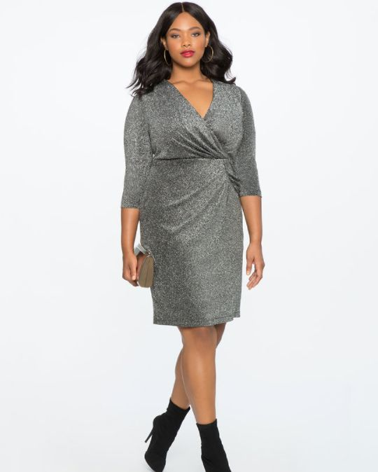 """From <a href=""""http://www.eloquii.com/draped-front-metallic-knit-dress/1225326.html?cgid=dresses&dwvar_1225326_colorCode=1"""