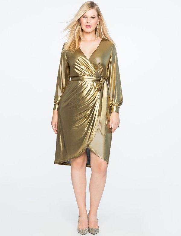 "From<a href=""http://www.eloquii.com/draped-front-metallic-knit-dress/1225326.html?cgid=dresses&dwvar_1225326_colorC"