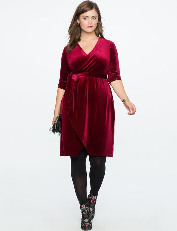 "From <a href=""http://www.eloquii.com/velvet-wrap-dress/1245189.html?cgid=event-dresses&dwvar_1245189_colorCode=41&sta"