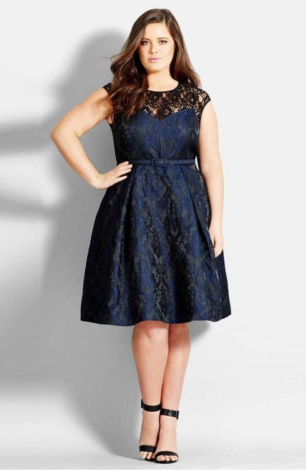 """From <a href=""""https://shop.nordstrom.com/s/city-chic-lace-neck-brocade-dress-plus-size/3903925?origin=category-personalizedso"""